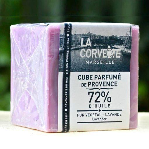 Lavender Savon de Marseille Soap Cube on Bench