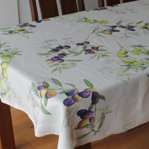 Italian Linen Tablecloth Olives