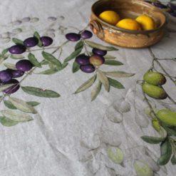 Italian Linen Tablecloth Olives