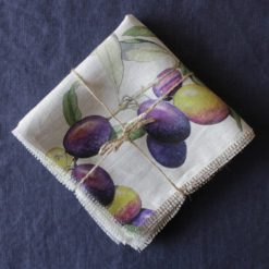 Olive Napkin on Grey