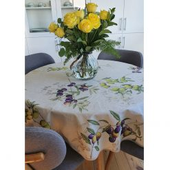 Round Olives Italian Linen Tablecloth