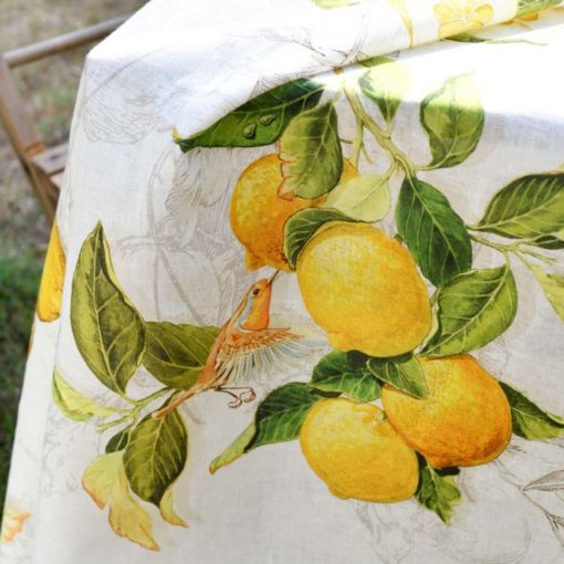 Linen Tablecloth Lemons Detail