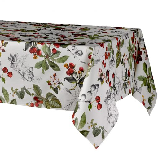 Cherry Tablecloth on Table