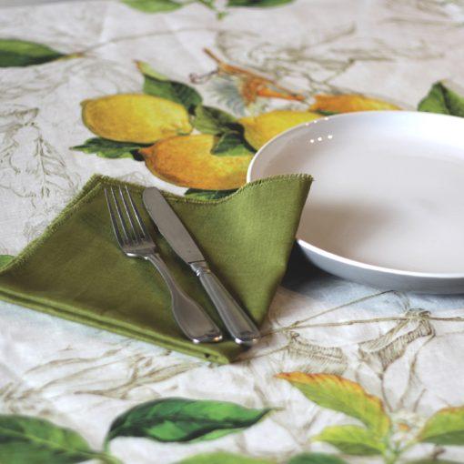 Green French Linen Napkin Fray Set Lemons