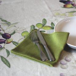 Green French Linen Napkin Fray Set Olives