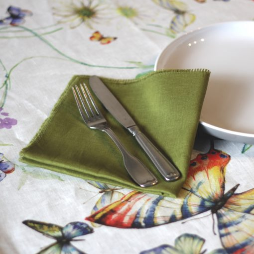 Green French Linen Napkin Fray Papillion