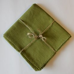 Green French Linen Napkin Fray Set
