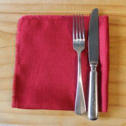 Cherry French Linen Napkin Fray Set