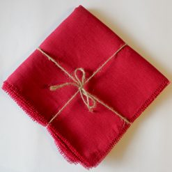 Cherry French Linen Napkin Fray Set