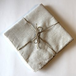 Natural French Linen Napkin Fray Set