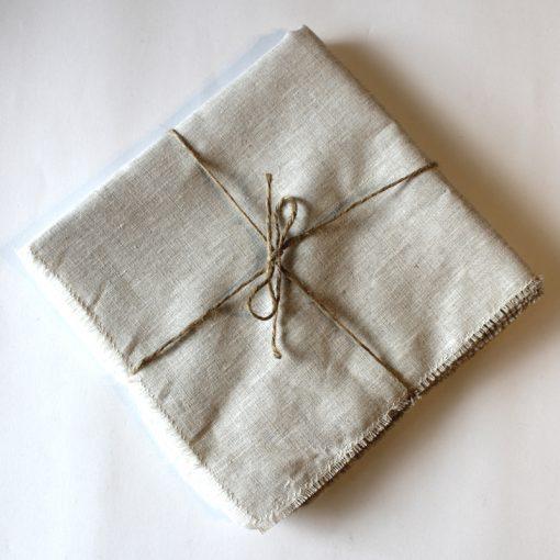 Natural French Linen Napkin Fray Set