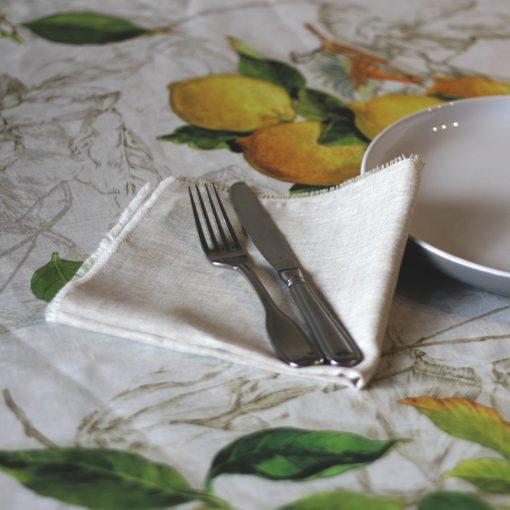 Natural French Linen Napkin Lemons