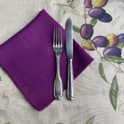 Purple French Linen Napkins Olives