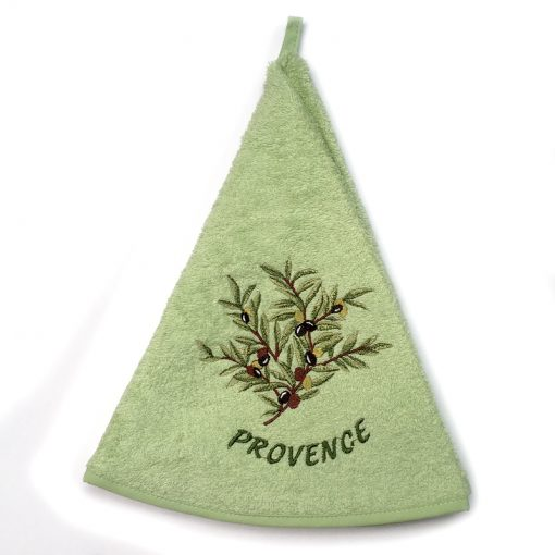 French Hand Towel Green Provence Olives