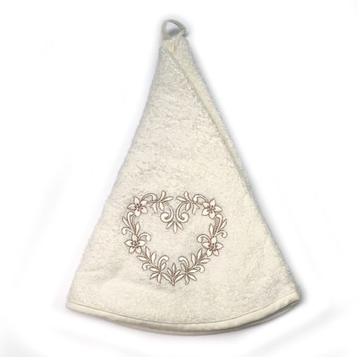 French Hand Towel White Heart