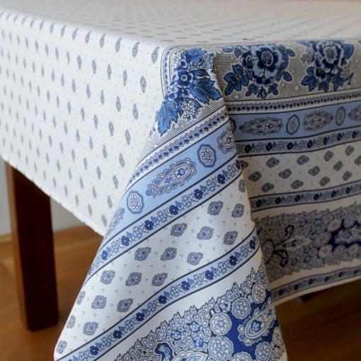 Bastide Blanc Bleu Tablecloth Fabric