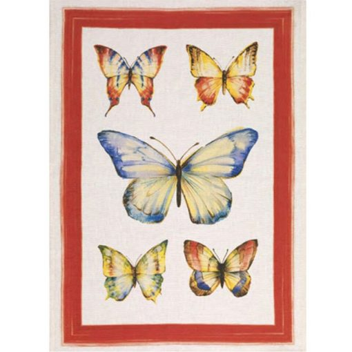 Tea Towel Papillon Red