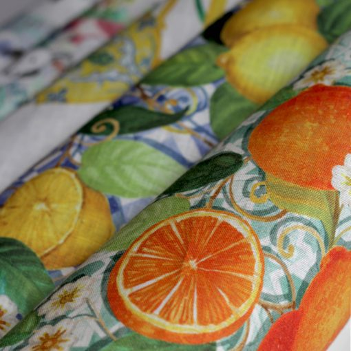 Tea Towel Tiles Citrus Duo Detail