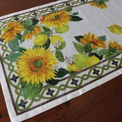 Linen Runner Sunflowers Detail 2