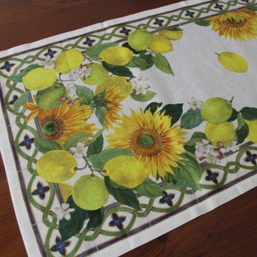 Linen Runner Sunflowers Detail
