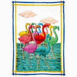 Flamingos Linen Tea Towel