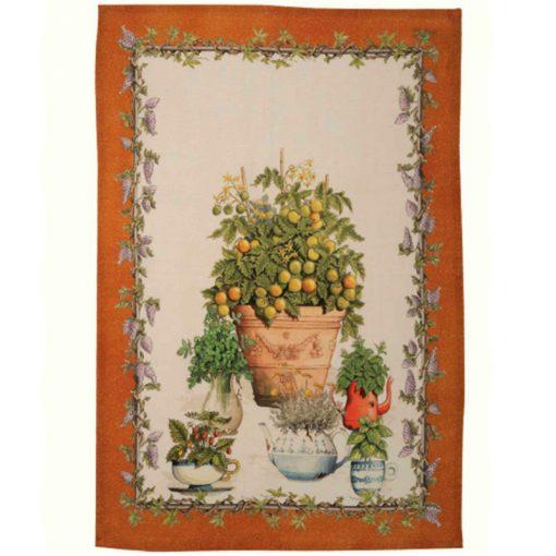 Linen Tea Towel Balcony Garden Orange