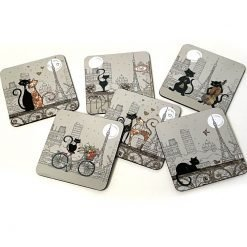 Drink Coasters Cats in Paris Set of 6