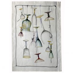 Linen Tea Towel Suspended Glasses